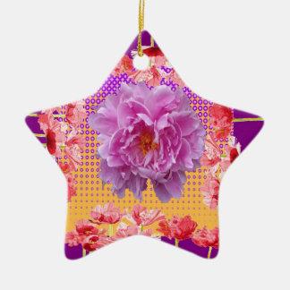 art floral pourpre de pivoine rose ornement étoile en céramique