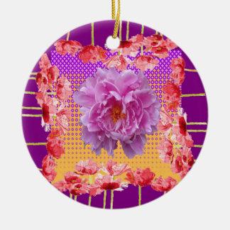 art floral pourpre de pivoine rose ornement rond en céramique
