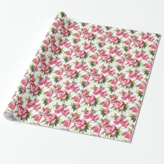 Art floral rose Girly Papier Cadeau Noël