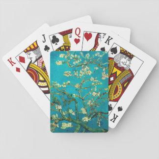 Art floral se développant d'arbre d'amande de jeu de cartes