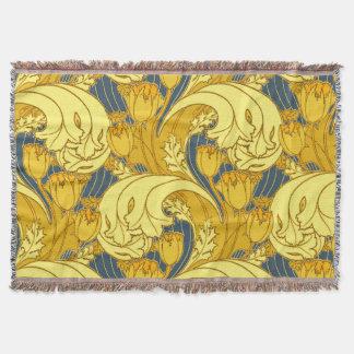 Art floral vintage de motif de bleu et d'or couverture