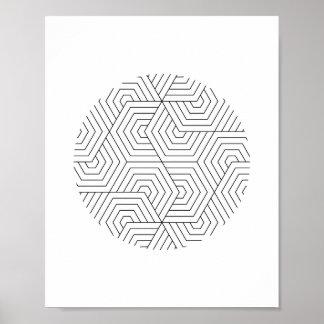 Art géométrique de mur de cercle noir et blanc posters
