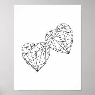 Art géométrique de mur de coeurs de décor poster