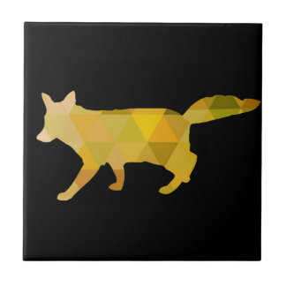 Art géométrique jaune de Fox de moutarde Petit Carreau Carré