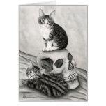 Art gothique d'imaginaire de Goth de crâne de chat Carte De Vœux