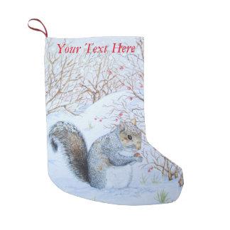art gris mignon de faune de scène de neige petite chaussette de noël