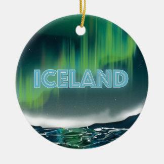 Art islandais de voyage de lumières du nord ornement rond en céramique