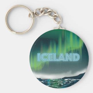 Art islandais de voyage de lumières du nord porte-clé rond