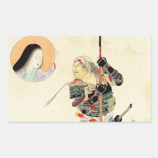 Art japonais classique de guerrier samouraï de stickers rectangulaires