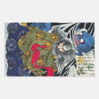 Art japonais oriental frais de fantôme et de sticker en rectangle