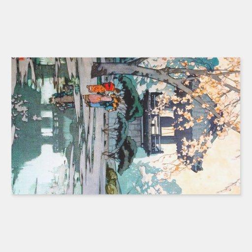 Art japonais oriental frais de tombeau de Hiroshi Autocollants Rectangulaires