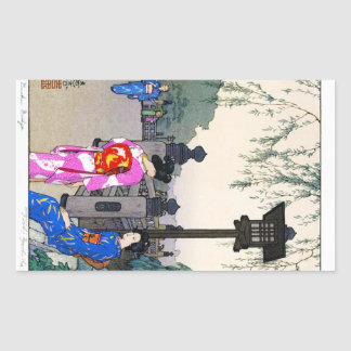 Art japonais pour aquarelle oriental frais de autocollant en rectangle