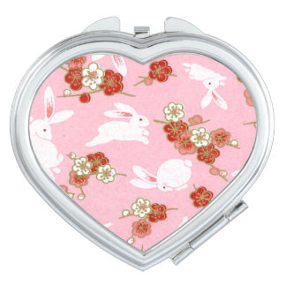 Art japonais : Sakura rose et miroir compact de