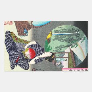 Art japonais traditionnel frais de geisha de autocollants en rectangle
