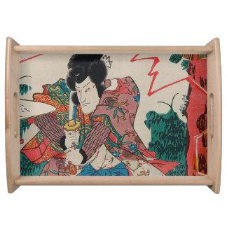 Art japonais - un samouraï avec Swor en exposition Plateaux De Service