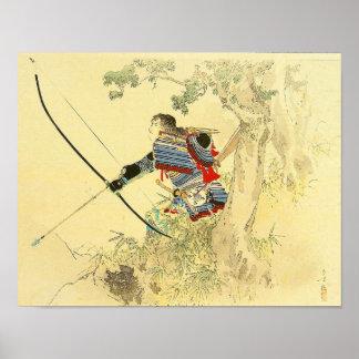 Art japonais - un samouraï avec un arc et des posters