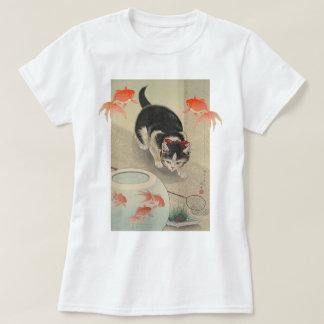 Art japonais vintage de chat et de poisson rouge t-shirt