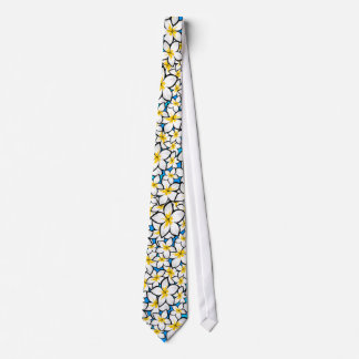 Art jaune et blanc lumineux de frangipani cravates