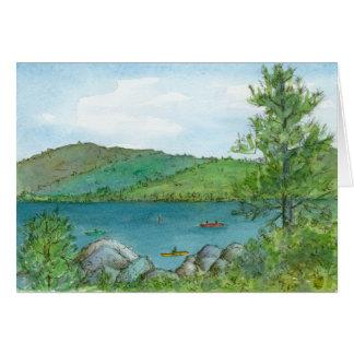 Art Kayaking de Lanscape d'aquarelle de lac Carte De Vœux