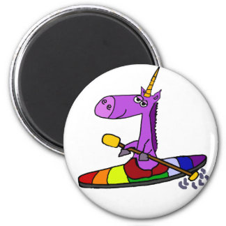 Art Kayaking de licorne magique Magnet Rond 8 Cm