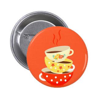 Art lunatique vintage de tasses de thé de rétro badge