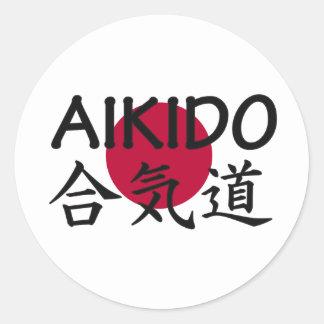 Art martial de Japonais d'Aikido Autocollant Rond