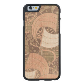 Art métallique de textile d'or vintage de rose coque carved® iPhone 6 en érable