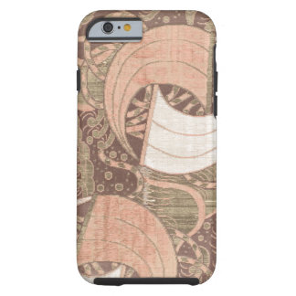 Art métallique de textile d'or vintage de rose coque tough iPhone 6