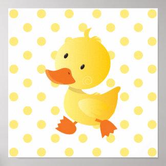 Art mignon de crèche de canard de bébé posters