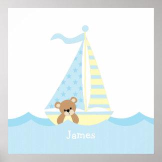Art mignon de mur de crèche d'ours de voilier posters