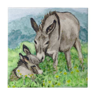 Art miniature d'aquarelle de maman et de bébé petit carreau carré