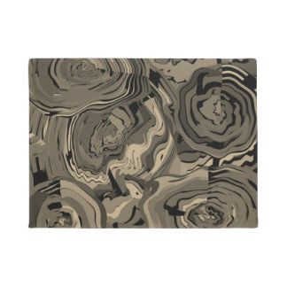 Art moderne Brown floral de tapis de porte et noir