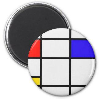 Art moderne de Piet Mondrian Magnet Rond 8 Cm