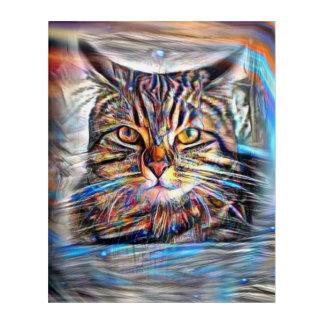 Art Mural En Acrylique À la dérive chez le chat abstrait de révolution de
