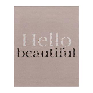 Art Mural En Acrylique Bonjour belle conception typographique, or rose