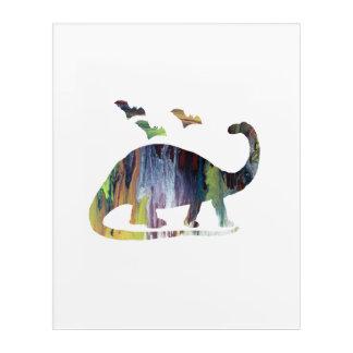 Art Mural En Acrylique Brontosaure et battes