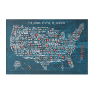 Art Mural En Acrylique Carte de ville des USA sur le bleu en bois