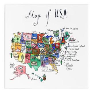 Art Mural En Acrylique Carte des attractions des Etats-Unis d'Amérique