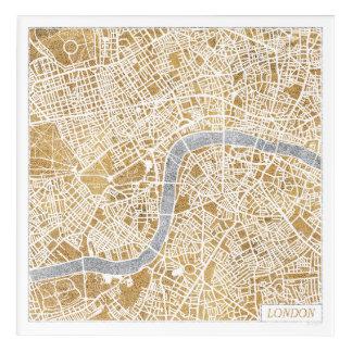 Art Mural En Acrylique Carte dorée de ville de Londres