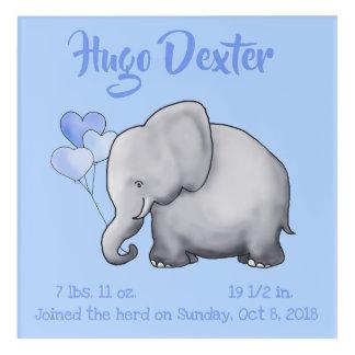 Art Mural En Acrylique Crèche mignonne personnalisée d'éléphant de stat