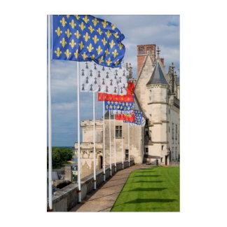 Art Mural En Acrylique d'Amboise de château et drapeau, France