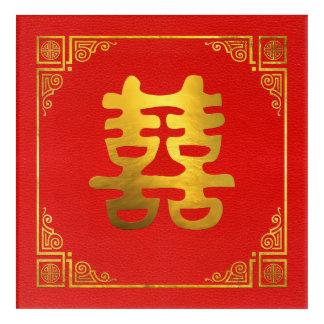 Art Mural En Acrylique Double symbole de Feng Shui de bonheur