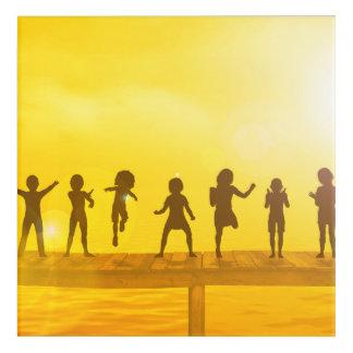 Art Mural En Acrylique Enfants heureux et amitié dans le concept d'école