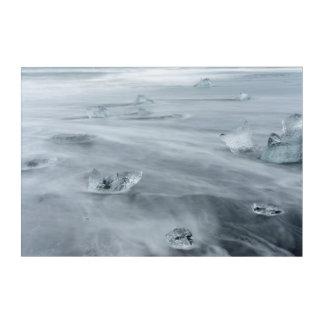 Art Mural En Acrylique Glace et l'eau sur une plage, Islande