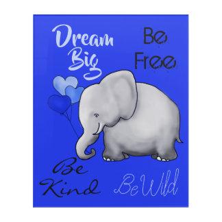 Art Mural En Acrylique Grande crèche rêveuse inspirée d'éléphant