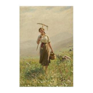 Art Mural En Acrylique Jeune fille dans les prairies norvégiennes par