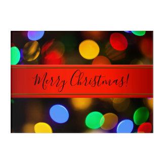 Art Mural En Acrylique Lumières de Noël multicolores. Ajoutez le texte ou