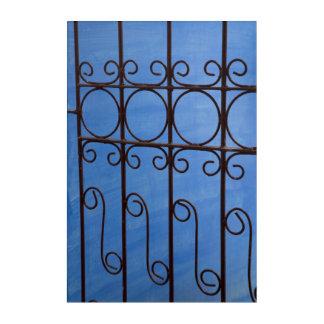 Art Mural En Acrylique Motif de porte de fer dans le bleu, Cuba