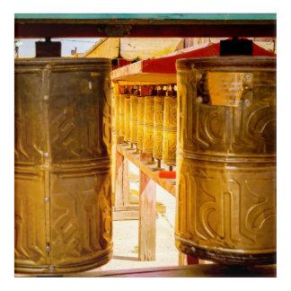 Art Mural En Acrylique Roues de prière d'or