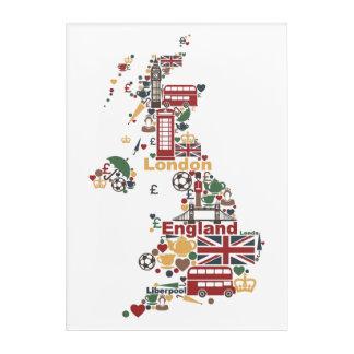 Art Mural En Acrylique Symboles de carte de l'Angleterre